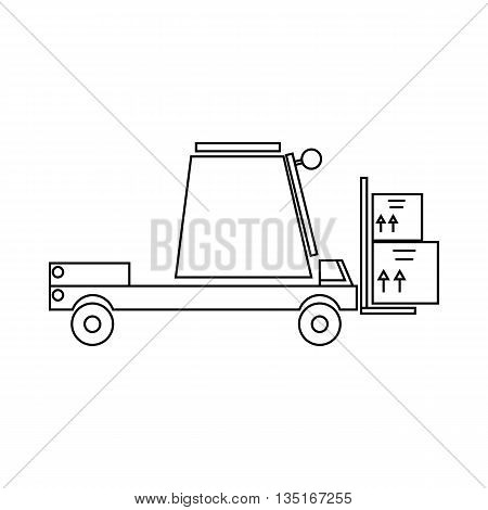 Loader icon in outline style isolated on white background. Cargo delivery symbol