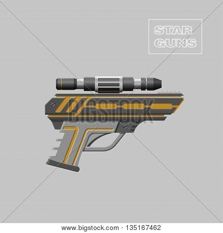 Star guns. Video game weapon. Virtual reality device. Pistol. Vector illustration