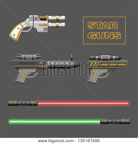Star guns set. Video game weapons. Virtual reality device collection. Light swords. Vector illustration