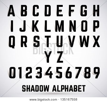 Alphabet shadow font set. Typeface with shadow. Letters and numbers. Vector illustration.