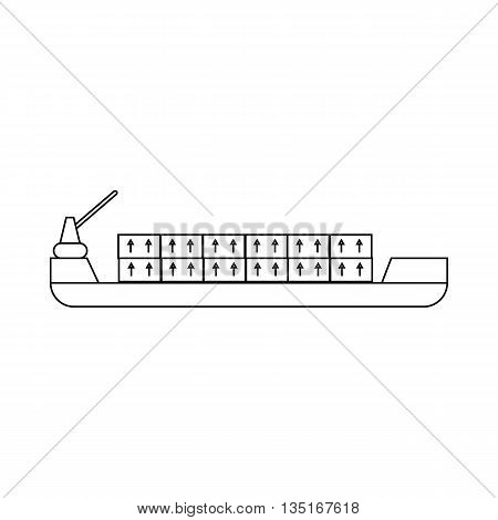Ship with cargo icon in outline style isolated on white background. Cargo delivery symbol
