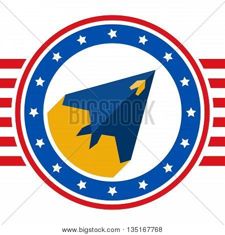 Round sticker with a picture of stealth aircraft painted in the colors United States flag. Flat vector USA aircraft label. USA flag style design template - stock vector background