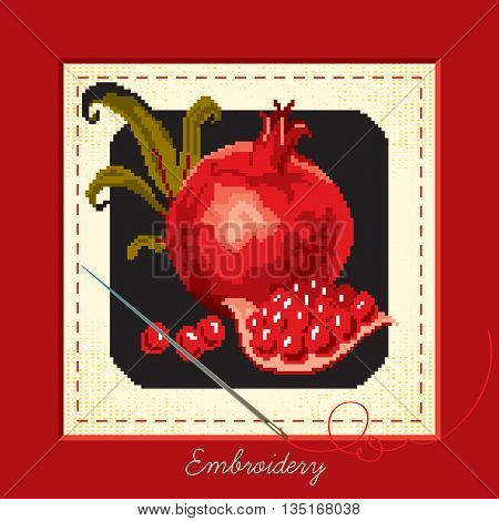 Banner cloth embroidered with a needle and a pomegranate on a black background