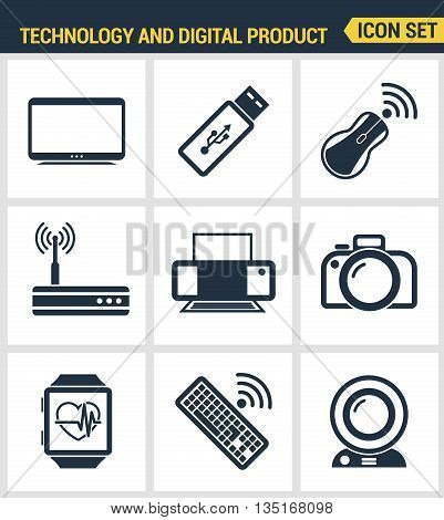 Icons Set Premium Quality Of Computer Technology And Electronics Devices, Mobile Phone Communication
