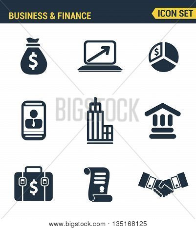 Icons Set Premium Quality Of Business Economic Development, Financial Growth. Modern Pictogram Colle