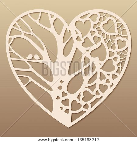 Openwork heart with a tree inside. Laser cutting template for greeting cards envelopes wedding invitations decorative art objects.