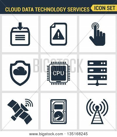 Icons Set Premium Quality Of Cloud Data Technology Services, Global Connection. Modern Pictogram Col