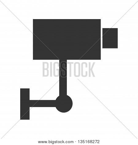 black security camera on side view over isolated background, vector illustration