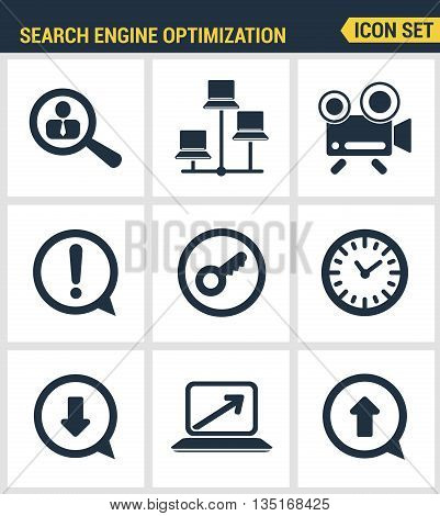 Icons set premium quality of search engine optimization tools for growth traffic. Modern pictogram collection flat design style symbol collection. Isolated white background.