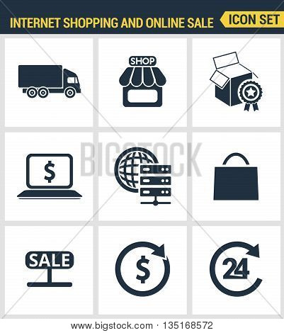 Icons set premium quality of internet shopping, retail store and online sales. Modern pictogram collection flat design style symbol collection. Isolated white background.