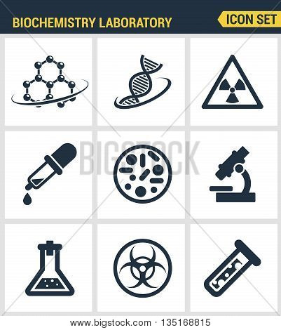 Icons set premium quality of biochemistry research, biology laboratory experiment. Modern pictogram collection flat design style symbol collection. Isolated white background.