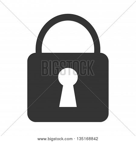black lock icon with white key space over isolated background, vector illustration