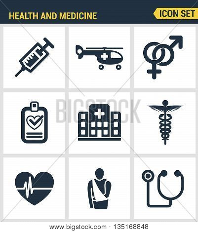 Icons set premium quality of healthcare professionals and medical equipment. Modern pictogram collection flat design style symbol collection. Isolated white background.
