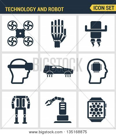 Icons set premium quality of future technology and artificial intelligent robot. Modern pictogram collection flat design style symbol collection. Isolated white background.