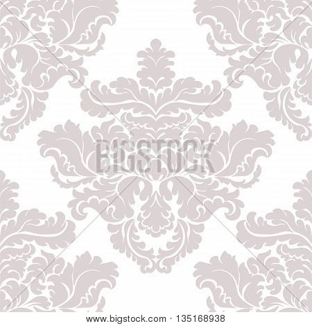 Vintage Classic Damask acanthus leaf ornament element. Luxury texture for backgrounds and invitation cards. Taupe colors. Vector