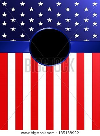 Brightly-colored American flag banner background with Rosette.