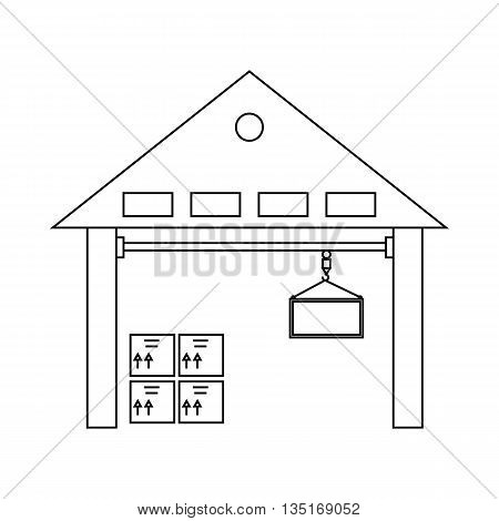 Warehouse with goods icon in outline style isolated on white background. Cargo symbol