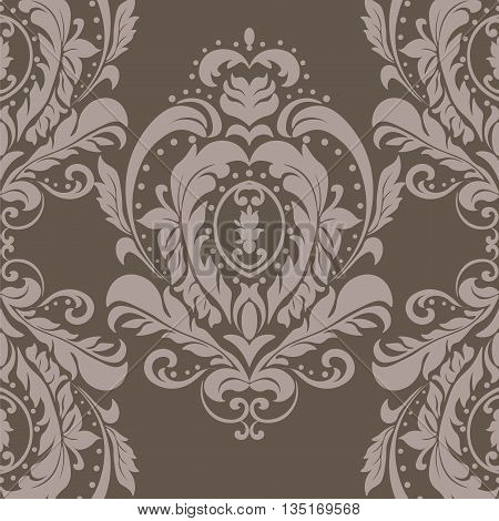 Vector floral damask ornament pattern. Elegant luxury texture for textile fabrics backgrounds. Taupe color