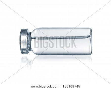 Glass vial medical close-up isolated on a white