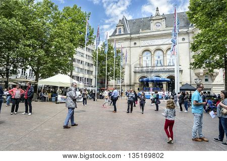 LUXEMBOURG, LUXEMBOURG - JUNE19, 2016:  Downtown at the Center Luxembourg City.