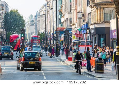 LONDON, UK - OCTOBER 4, 2015: New Oxford street with lots of people