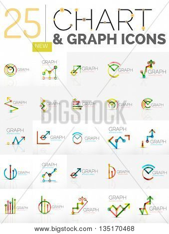 Collection of linear abstract logos - chart and graph icons - clean geometric symbols.