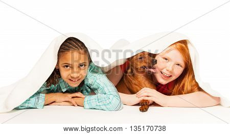 Two little girls Black and Caucasian under the blanket with Pinscher dog