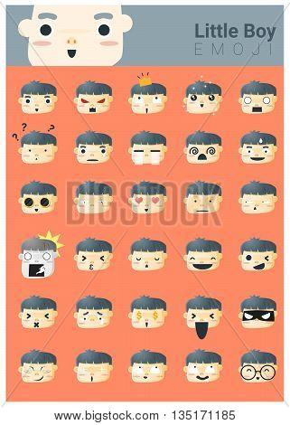 Little boy emoji icons , vector , illustration