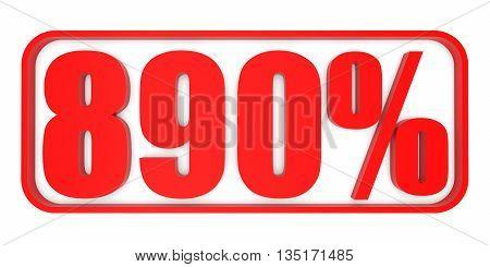 Discount 890 Percent Off. 3D Illustration.