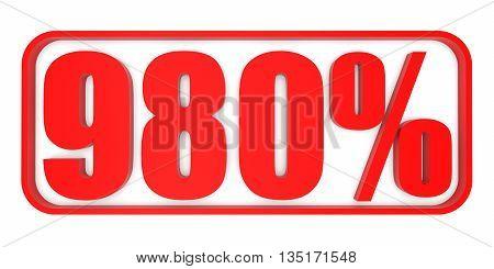 Discount 980 Percent Off. 3D Illustration.