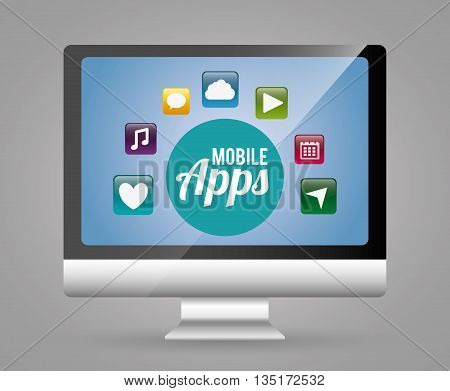 Multimedia mobile applications graphic design, vector illustration