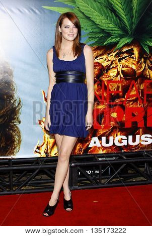 Emma Stone at the World premiere of 'Pineapple Express' held at the Mann Village Theater in Westwood, USA on July 31, 2008.