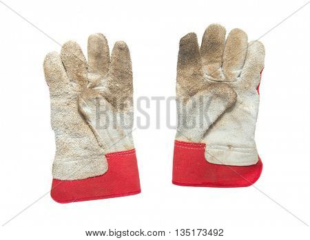 Dirty working gloves isoladet on white
