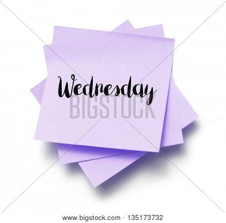 Wednesday written on a note