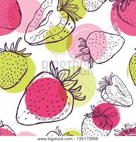 Vector Seamless Pattern With Strawberries And Colorful Watercolor Blots. Hand Draw Background With B