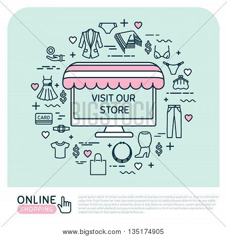 Online shopping. Vector thin line icons. Set with woman clothes. Vector illustration. EPS 10