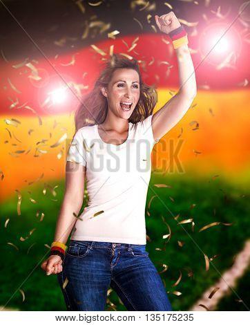 german flag winning celebrating female