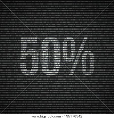 No signal TV illustration Interference screen 50 percent discount Vector illustration.