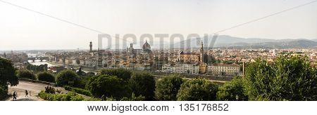 Panorama of Florence. Basilica of Santa Croce Santa Maria del Fiore the Palazzo Vecchio and the river Arno