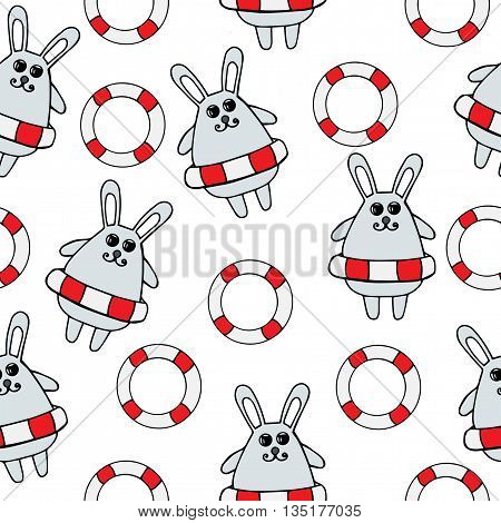 Seamless with little rabbit in rescue circle on the white background. Rabbit series.