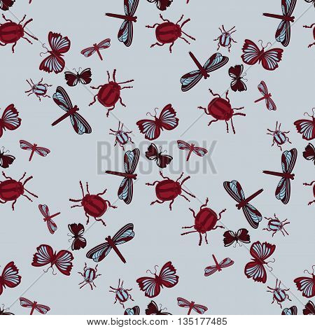 Insects Background seamless Pattern. Dragonflies beetles butterflies