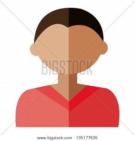 cartoon avatar man with coloful hair front view over isolated background, vector illustration
