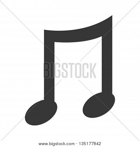 black music note front view over isolated background, vector illustration