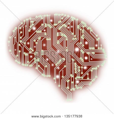 An Illustration Of A Human Brain Shaped Circuit Board Isolated On White Background