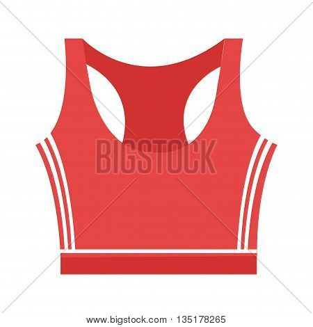 unisex  red sport clothes front view over isolated background, vector illustration