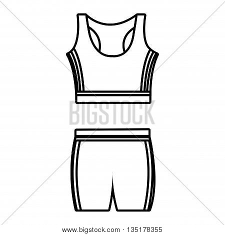 unisex sport clothes front view over isolated background, vector illustration