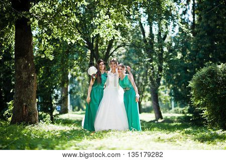 Gorgeous Bride With Bridesmaids Posed On Sunshine Park