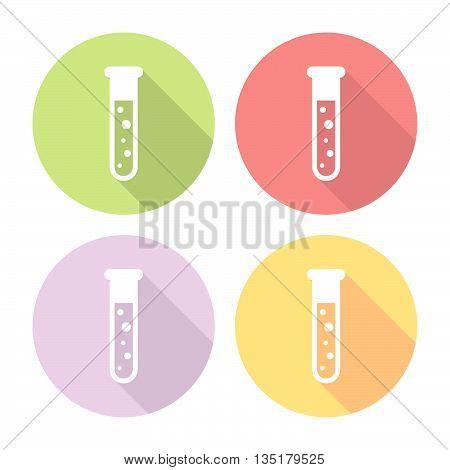 Chemistry Laboratory Flask Flat Icons Set