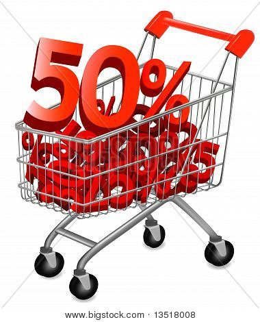Big save in a shopping cart . Concept of discount. Vector illustration