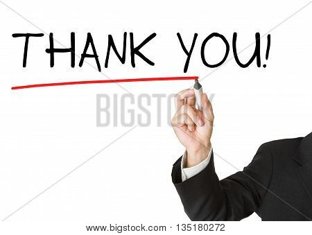 Businessman in suit drawing the words 'thank you' on whiteboard isolated on white background